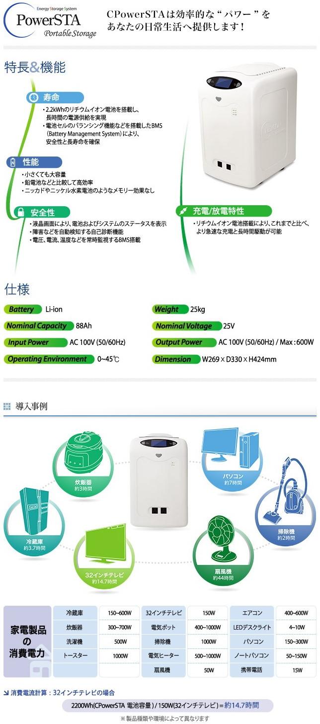 CPowerSTA(2.2kWh可搬型蓄電池システム)(販売終了品)